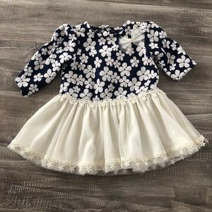 Nanette Baby Holiday Navy Floral Dress 3-6M